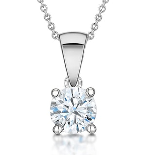 Diamond Solitaire Necklace 0.90ct Chloe Certified in 18KW Gold E/VS2