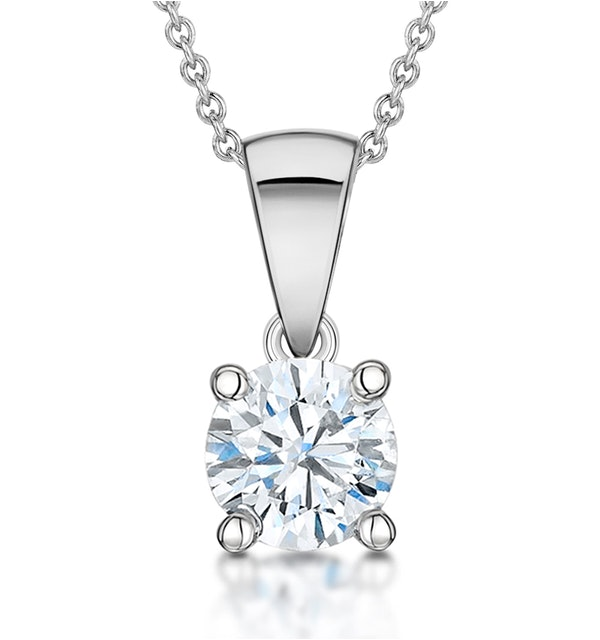 Diamond Solitaire Necklace 0.90ct Chloe Certified in 18KW Gold G/SI2 - image 1