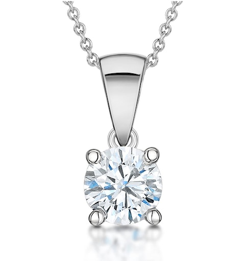 Diamond Solitaire Necklace 0.90ct Chloe Certified in 18KW Gold E/VS1 - image 1