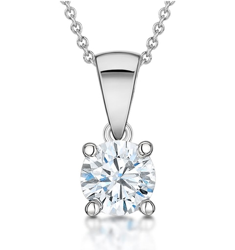 Diamond Solitaire Necklace 0.90ct Chloe Certified in 18KW Gold G/SI1 - image 1