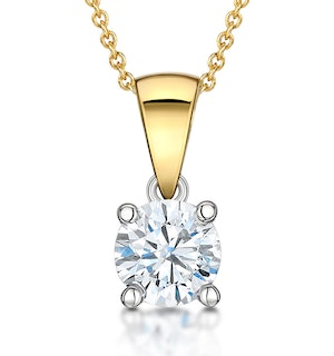 Chloe Certified 0.90ct Diamond Solitaire Necklace in 18K Gold G/SI2