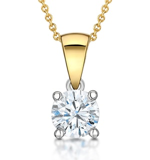 Chloe Certified 0.90ct Diamond Solitaire Necklace in 18K Gold E/VS1