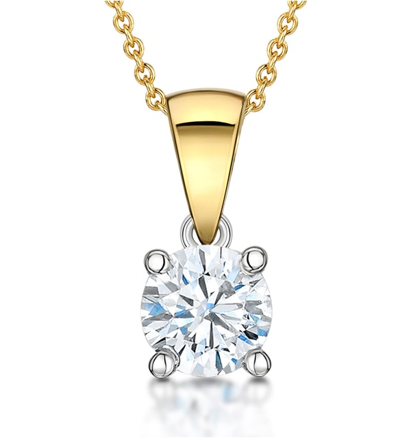 Chloe Certified 0.90ct Diamond Solitaire Necklace in 18K Gold E/VS2 - image 1