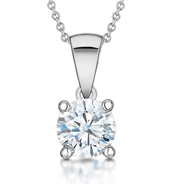 Diamond Solitaire Necklace 1.00ct Chloe Certified in 18KW Gold E/VS2 - image 1