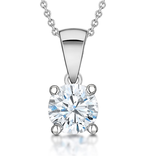 Lab Diamond Solitaire Necklace 1.00ct Chloe Certified 18KW Gold H/SI1 - image 1