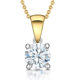 Chloe Certified 1.00ct Lab Diamond Solitaire Necklace 18K Gold H/SI1