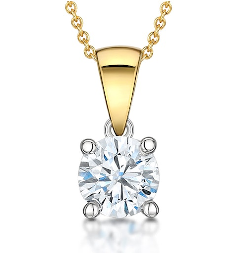 Chloe Certified 1.00ct Lab Diamond Solitaire Necklace 18K Gold F/VS1 - image 1