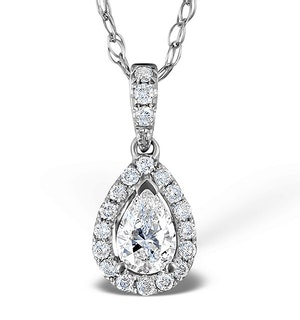 Ella 18K White Gold Diamond Pear Shape Pendant 0.70ct H/SI