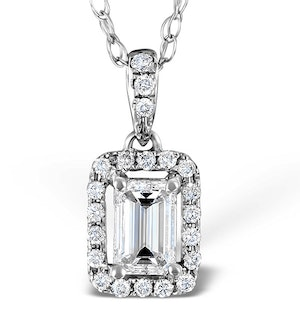 Ella 18K White Gold Diamond Emerald Cut Pendant 0.70ct G/VS