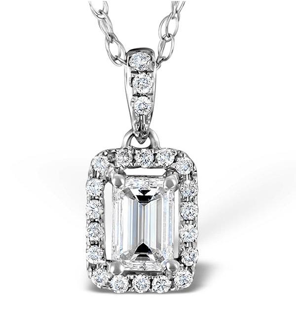 Ella 18K White Gold Diamond Emerald Cut Pendant 0.70ct H/SI - image 1