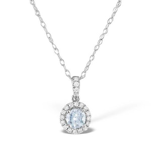 Aquamarine 5mm And Diamond 18K White Gold Pendant