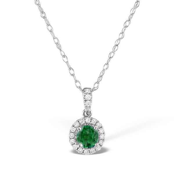 Emerald 0.50CT And Diamond Halo 18K White Gold Pendant Necklace - image 1
