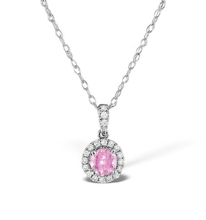 Pink Sapphire 5mm and Diamond 18K White Gold Pendant Necklace