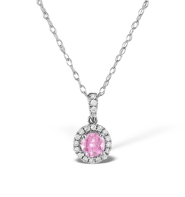 Pink Sapphire 5mm and Diamond 18K White Gold Pendant Necklace - image 1