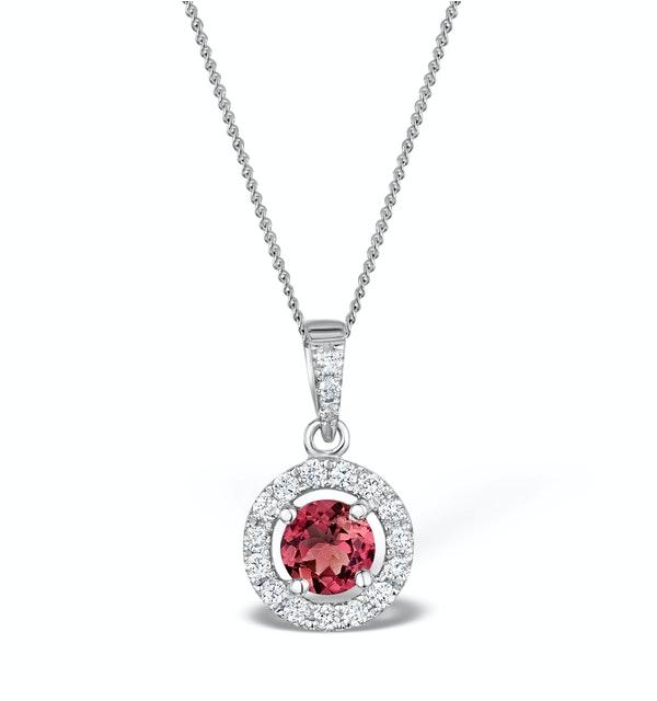 Pink Tourmaline 0.50CT and Diamond Halo Pendant Necklace 18K Gold - image 1