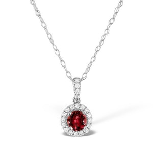 Ruby 0.65CT And Diamond Halo 18K White Gold Pendant Necklace