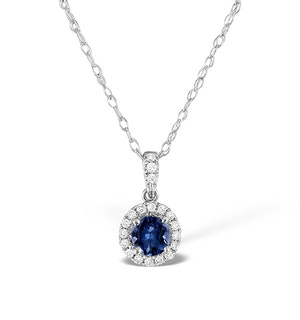 Sapphire 5mm And Diamond Halo 18K White Gold Pendant Necklace