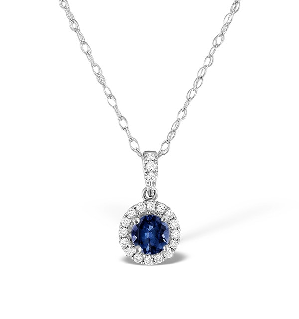 Sapphire 5mm And Diamond Halo 18K White Gold Pendant Necklace - image 1