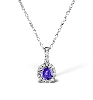 Tanzanite 5mm And Diamond 18K White Gold Pendant Necklace