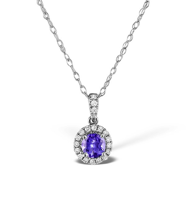 Tanzanite 5mm And Diamond 18K White Gold Pendant Necklace - image 1