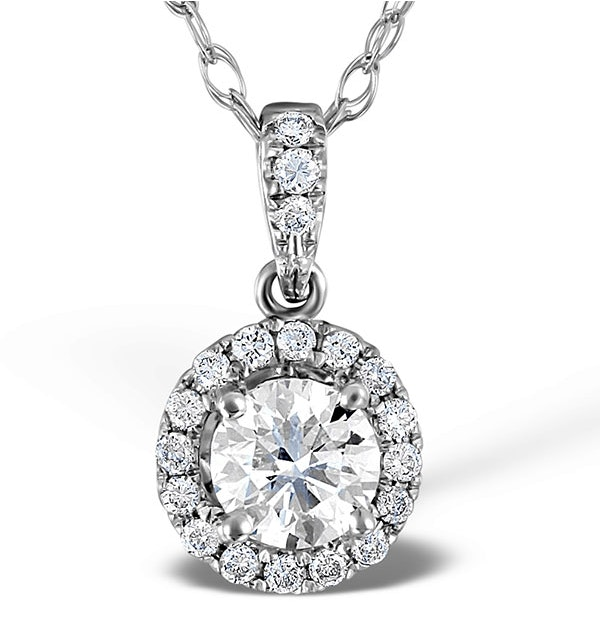 Ella 18K White Gold Diamond Brilliant Cut Pendant 0.71ct G/VS2 - image 1