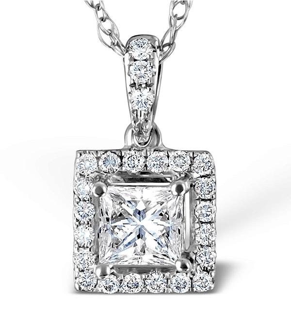 Ella 18K White Gold Diamond Princess Cut Pendant 0.74ct H/SI - image 1