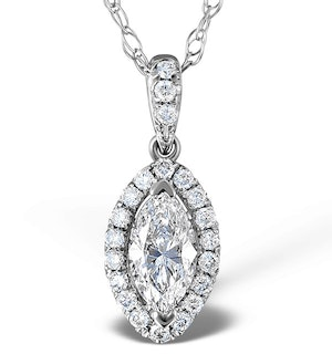 Ella 18K White Gold Diamond Marquise Pendant 0.73ct H/SI