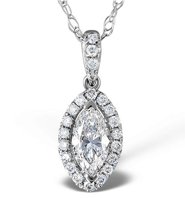 Ella 18K White Gold Diamond Marquise Pendant 0.73ct H/SI - image 1