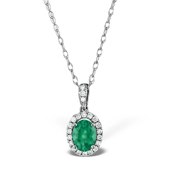 Emerald 0.70CT And Diamond 18K White Gold Pendant Necklace - image 1