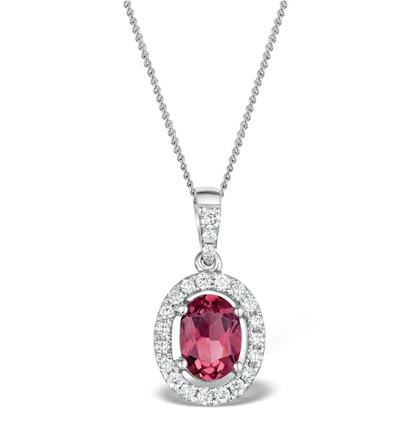 Pink Tourmaline and Diamond Halo Pendant Necklace 18K White Gold FR34 - image 1