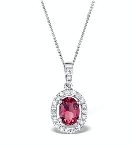 Pink Tourmaline 0.80CT and Diamond Halo Pendant 18K White Gold FR34 - image 1