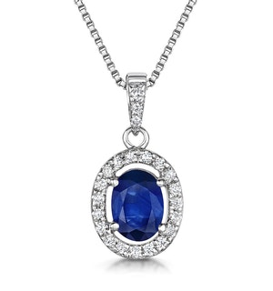 Sapphire 7 x 5mm And Diamond 18K White Gold Pendant