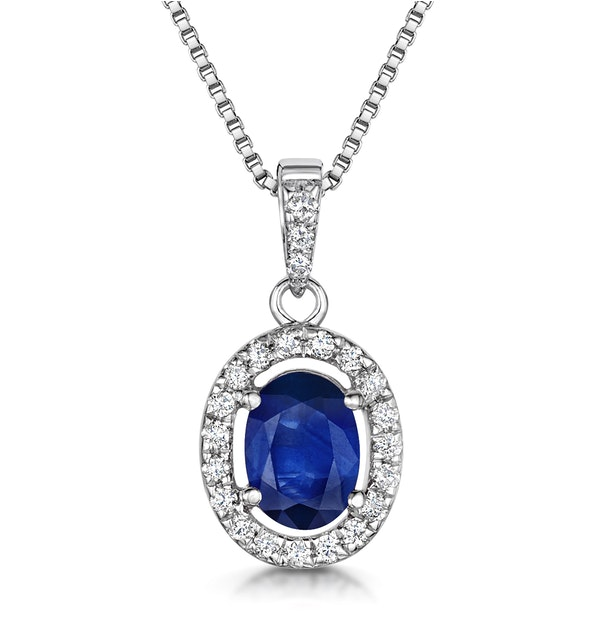 Sapphire 7 x 5mm And Diamond 18K White Gold Pendant Necklace - image 1