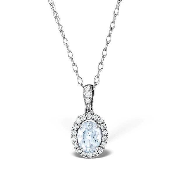 Aquamarine 7 x 5mm And Diamond 18K White Gold Pendant Necklace - image 1