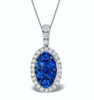 1.42ct Sapphire and Diamond 18K White Gold Cluster Pendant Necklace