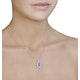 0.54ct Diamond 1.42ct Sapphire and 18K White Gold Cluster Pendant - image 3