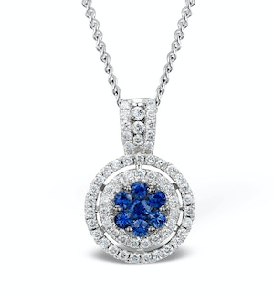 0.45ct and 18K White Gold Diamond Sapphire Pendant Necklace - FR38