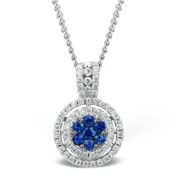 0.45ct and 18K White Gold Diamond Sapphire Pendant Necklace - FR38 - image 1
