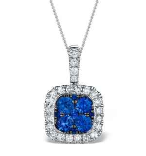 KEIRA 18K White Gold 1.50ct Sapphire and Diamond Halo Pendant