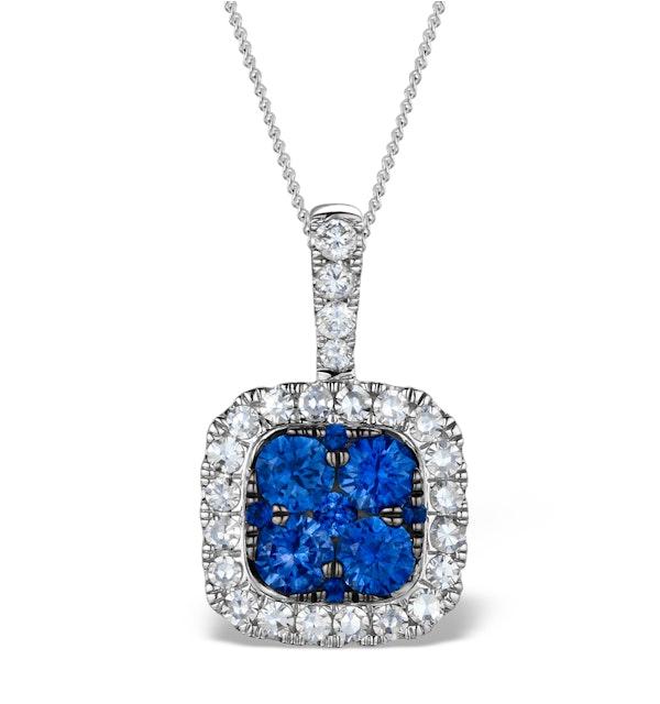 KEIRA 18K White Gold 1.50ct Sapphire and Diamond Halo Pendant - image 1