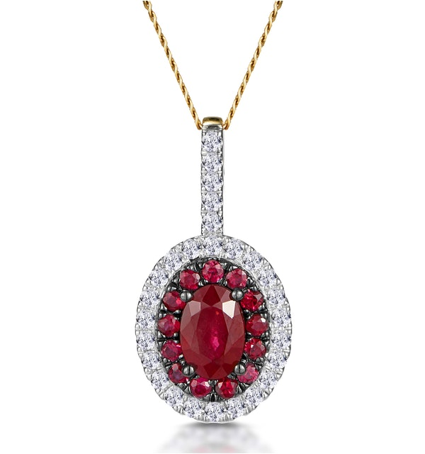 Ruby and Diamond Oval Halo Necklace in 18K Gold - Asteria Collection - image 1