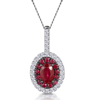 Ruby and Diamond Oval Halo Necklace in 18KW Gold - Asteria Collection