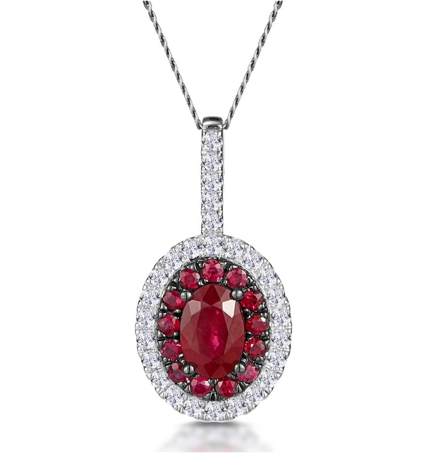 Ruby and Diamond Oval Halo Necklace in 18KW Gold - Asteria Collection - image 1