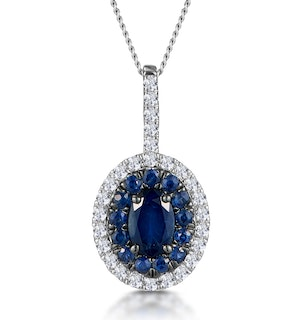 Sapphire and Lab Diamond Oval Halo Necklace 9KW Gold Asteria
