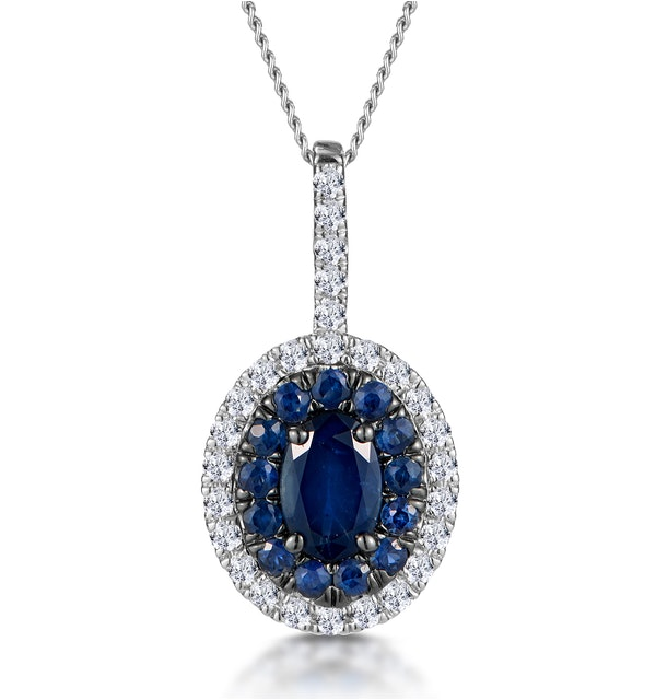 Sapphire and Diamond Oval Halo Necklace 18KW Gold Asteria Collection - image 1