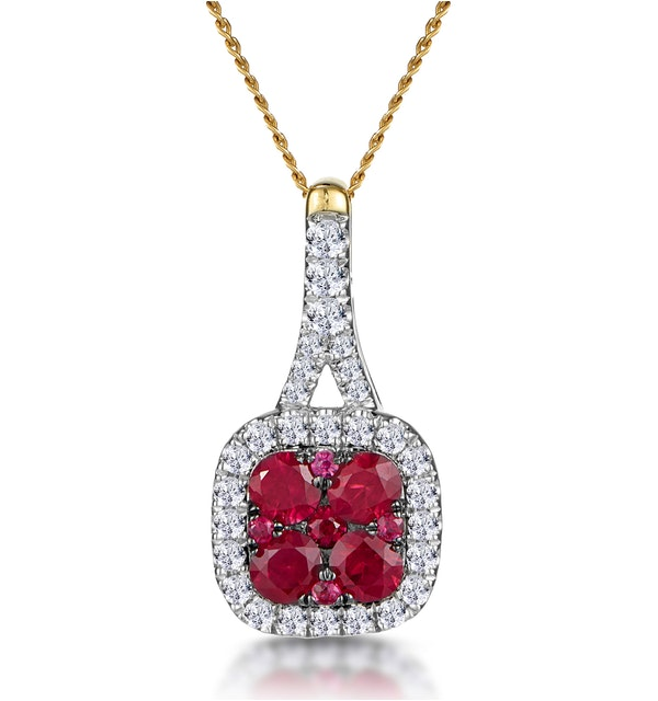 Ruby and Diamond Halo Necklace in 18K Gold - Asteria Collection - image 1
