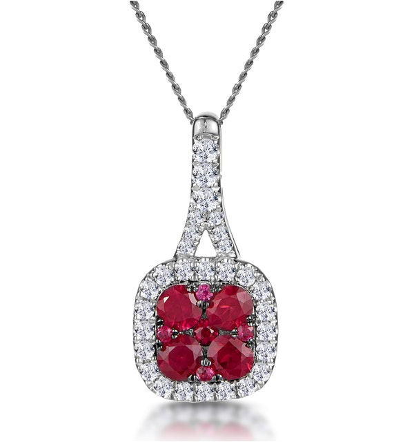 Ruby and Diamond Halo Necklace in 18K White Gold - Asteria Collection - image 1
