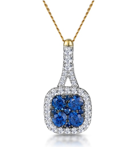 Sapphire and Diamond Halo Necklace in 18K Gold - Asteria Collection - image 1