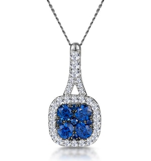 Sapphire and Lab Diamond Halo Necklace in 9KW Gold - Asteria
