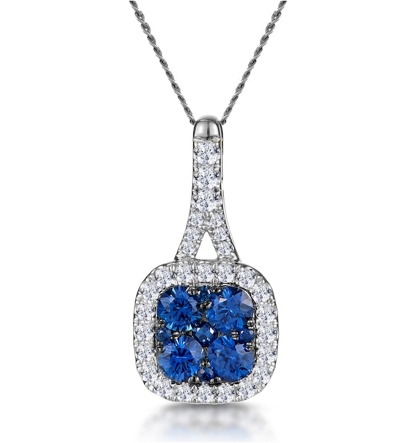 Sapphire and Diamond Halo Necklace in 18KW Gold - Asteria Collection - image 1